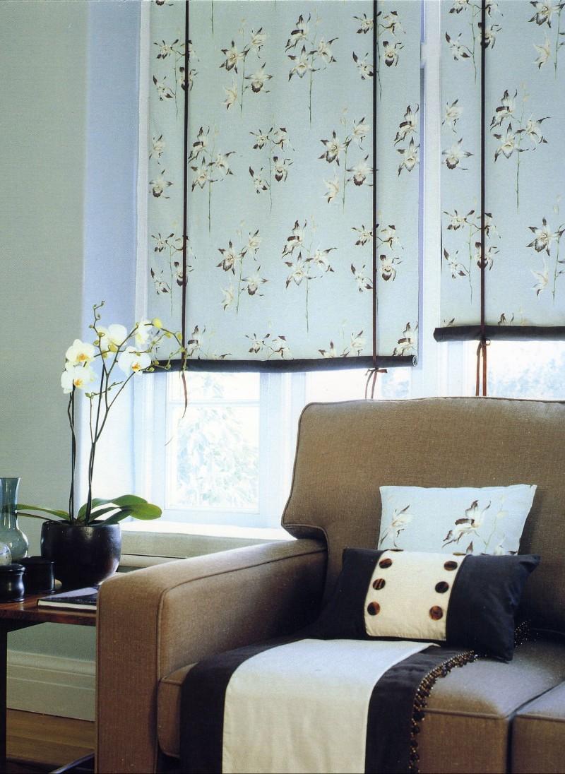 Sanderson Fabrics, orchid fabric blinds, styling Rebecca de boehmler