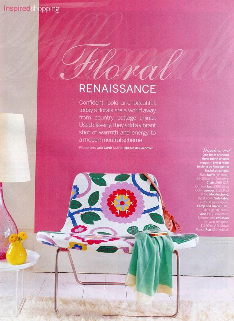 Living Etc. Modern Florals, Floral Renaissance, pink walls, fabric by Sandberg, Styling Rebecca de Boehmler