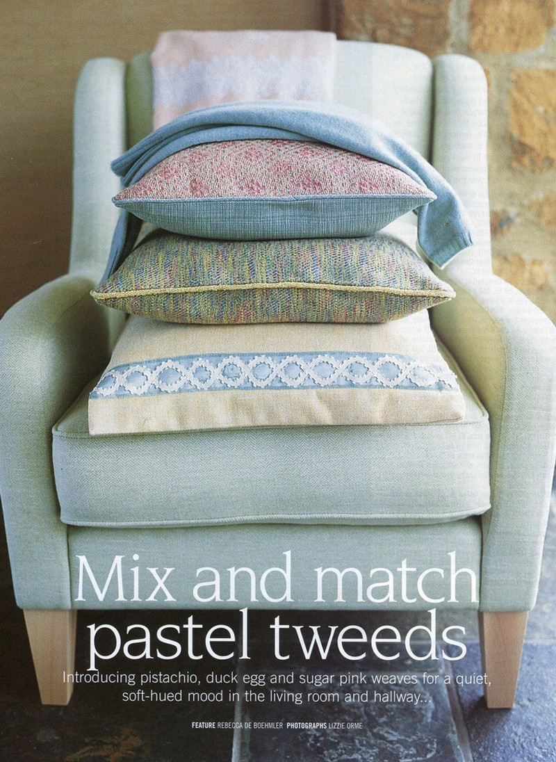 Country Homes and Interiors Magazine, Pastel Tweeds feature, styling Rebecca de Boehmler