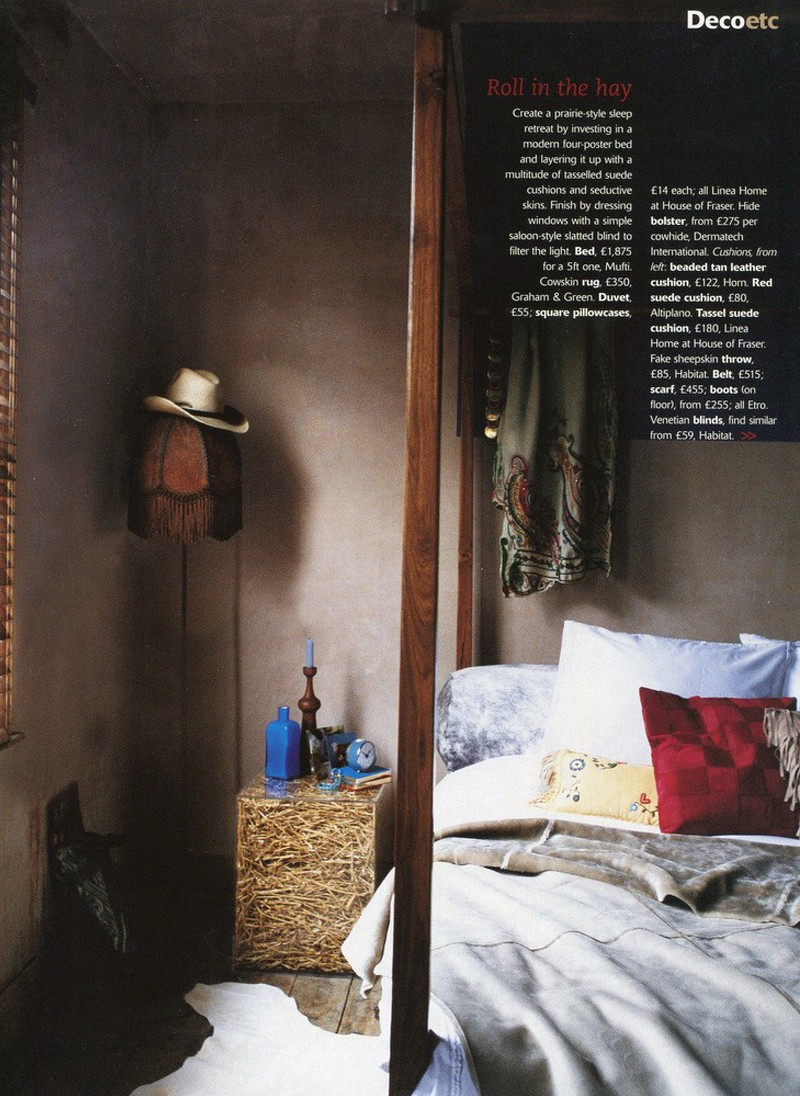 Living etc. Cowboy , four poster bed. Styling Rebecca de Boehmler.