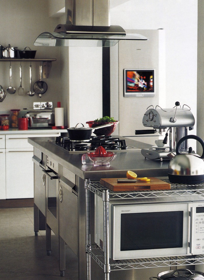 Stainless steel Kitchen, House of Fraser, styling Rebecca de Boehmler