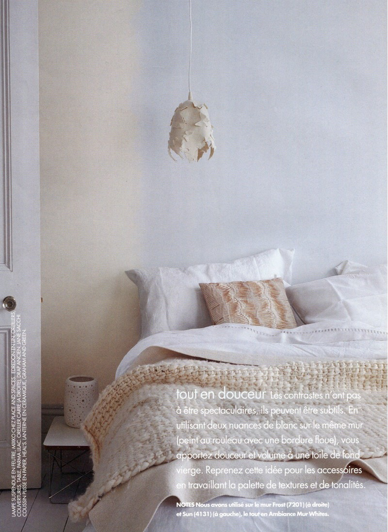 Texture, wool , cream bed, cream paint, Crown Magazine styling Rebecca de Boehmler