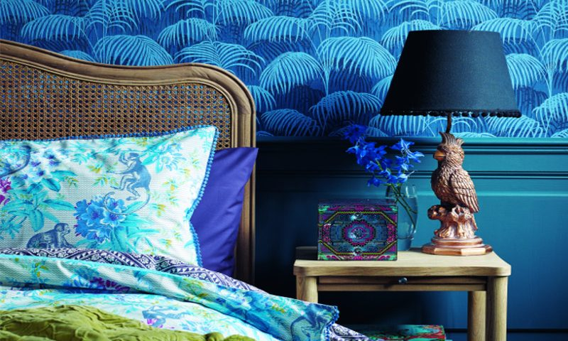 Matthew Williamson- Debenhams AW18- blue bedding, bedroom detail