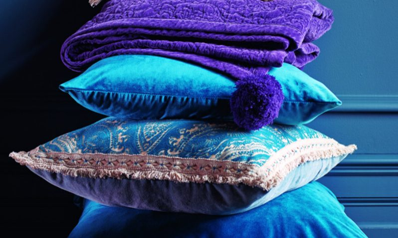 Matthew Williamson- Debenhams AW18- cushion detail, purple sofa