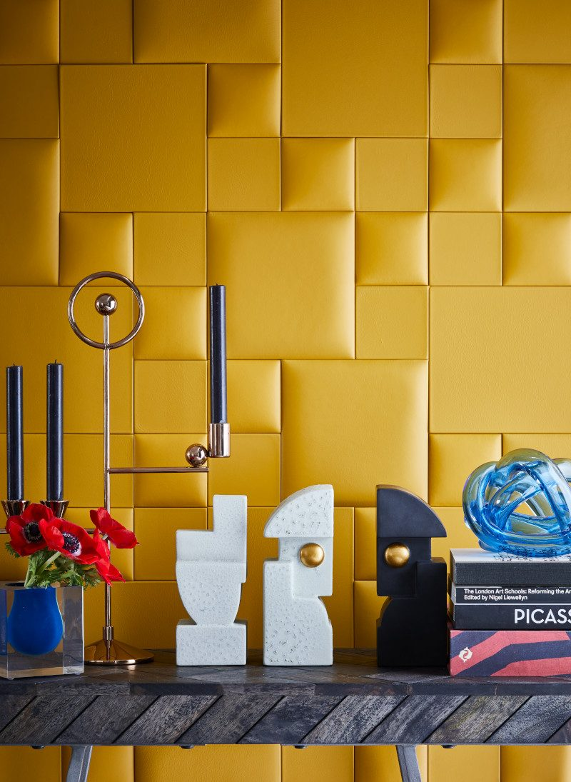 Leather Yellow Cubist wall for Livingetc