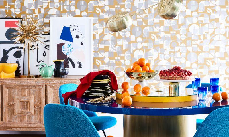 livingetc/ cubist story/ decorative wallpaper/ dining room/ Simon Bevan