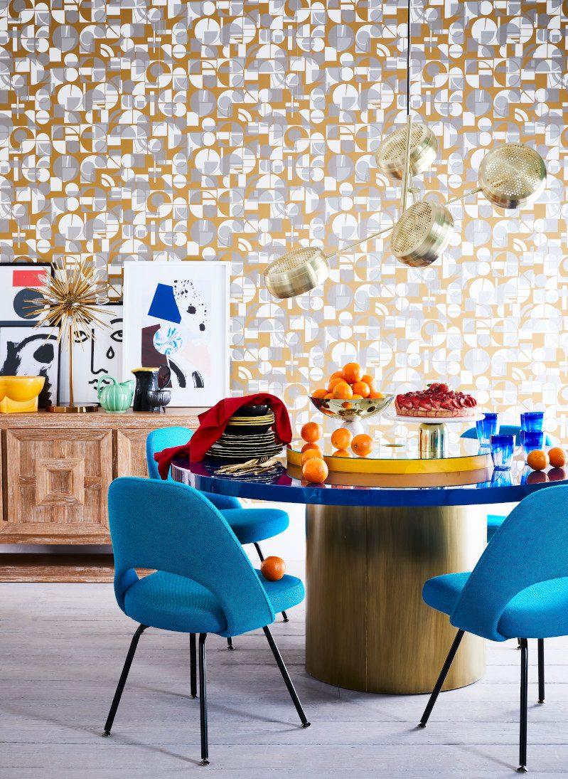 Cubist inspired wallpaper – dining room for Livingetc