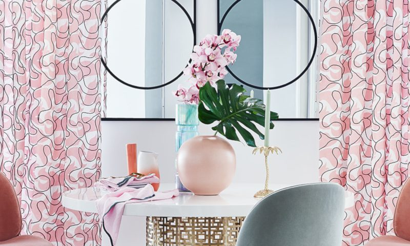 Livingetc – Pink dining and Oversized Pink sofa.
