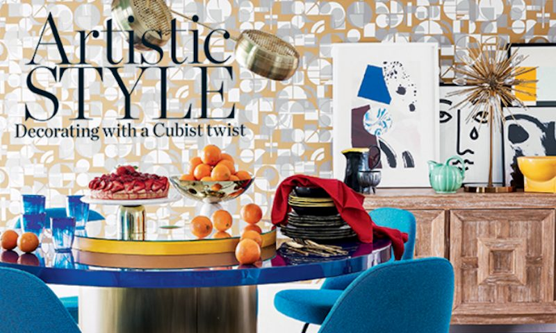 Livingetc cover Dining room with bold geometric style wallpaper