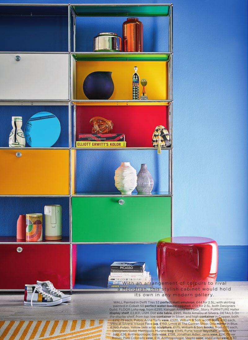 Primary coloured abstract art theme cabinet for Livingetc